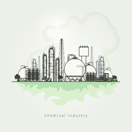 Illustration of a chemical plant or refinery processing of natural resources, or a plant for the manufacture of products. Chemical factory silhouette for industrial and technology design. Vector illustration Stock Illustratie