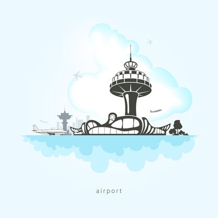 Luchthaven met vliegtuigen, wolken en de verkeerstoren op de luchthaven, vector illustratie