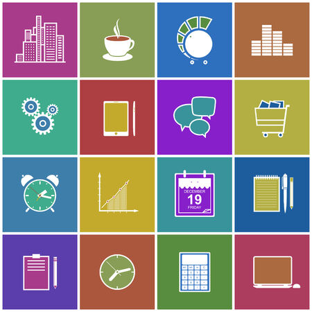 design objects: Stylish modern flat icons collection on  bright multicolored background of web design objects, business, office and marketing items.