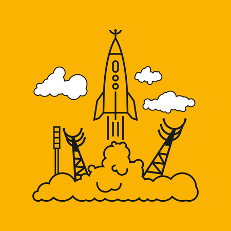 spaceport: Start of the Rocket from the spaceport in clouds, raising puffs of smoke, vector illustration
