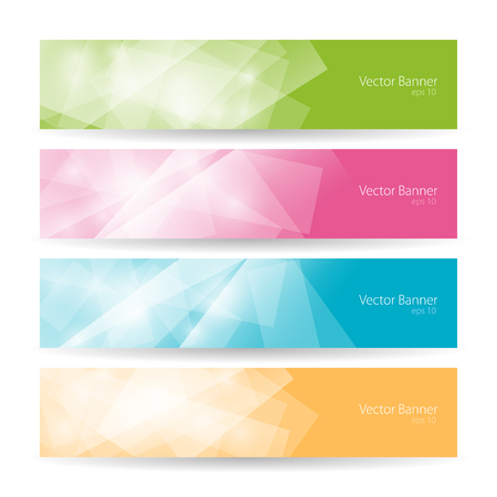 green banner: Set of modern bright banners , colorful polygonal  background, vector illustration