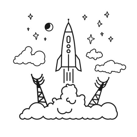 spaceport: Start of the Rocket from the spaceport to stars and planets and clouds, raising puffs of smoke, vector illustration Illustration