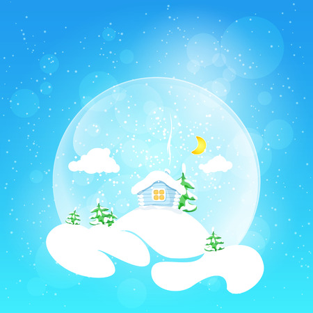 Christmas design. The little house with the moon and clouds and fir tree in snow globe on a bright defocused background with glittering lights and snowflakes, vector illustration Vector