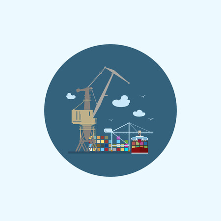unloading: Round icon with colored cargo container ship with clouds and seagulls, logistics icon,unloading containers from a cargo ship on the docks with cargo crane, vector illustration Illustration