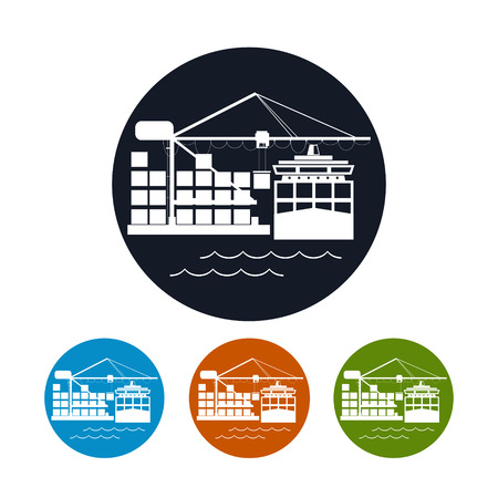unloading: Cargo container ship icon, logistics icon,unloading containers from a cargo ship on the docks,the four types of colorful round icons,vector illustration Illustration