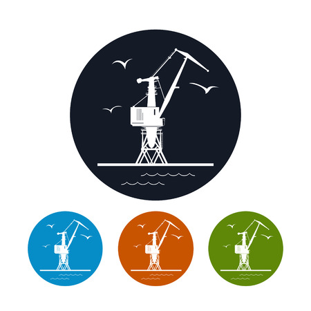 docks: Logistics icon, cargo crane on the docks  ,the four types of colorful round icons,vector illustration
