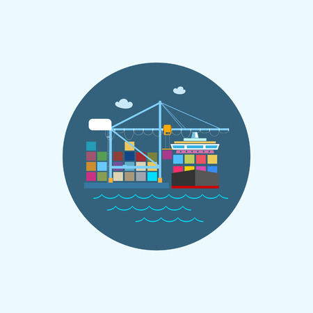 Round icon with colored cargo container ship with clouds and seagulls, logistics icon,unloading containers from a cargo ship on the docks with cargo crane, vector illustration Ilustração