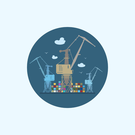 seaport: Round icon with colored cargo cranes and containers, logistics icon, vector illustration