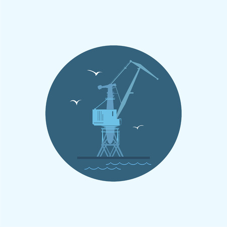 dockyard: Round icon with colored cargo crane and seagulls in dock, vector illustration