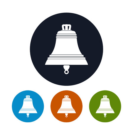 handbell: Bell icon, the four types of colorful round icons, vector illustration