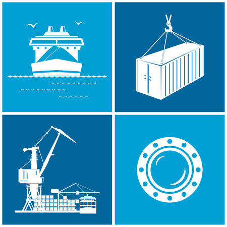 ship porthole: Set of maritime icons for web design. Icons dry-cargo ship, porthole, container and cranes, cranes unload containers from the cargo container ship, vector llustration