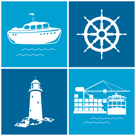 Set of maritime icons for web design. Icons ship wheel ,boat, lighthouse and cranes, cranes unload containers from the cargo container ship, vector illustration Vector