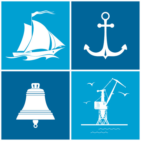 seaport: Set of maritime icons for web design. Icons sailing vessel ,anchor, bell and crane, crane with seagulls in port, vector illustration