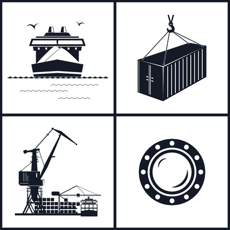 barge: Set of maritime icons for web design. Icons dry-cargo ship, porthole, container and cranes, cranes unload containers from the cargo container ship, vector llustration