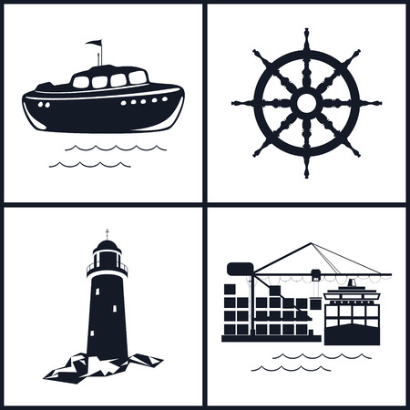 seaport: Set of maritime icons for web design. Icons ship wheel ,boat, lighthouse and cranes, cranes unload containers from the cargo container ship, vector illustration Illustration