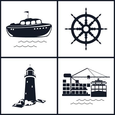 はしけ: Web デザインのための海事のアイコンのセットです。貨物コンテナー船、ベクター イラストから容器アイコン船の車輪、ボート、灯台、クレーン、クレーンをアンロードします。