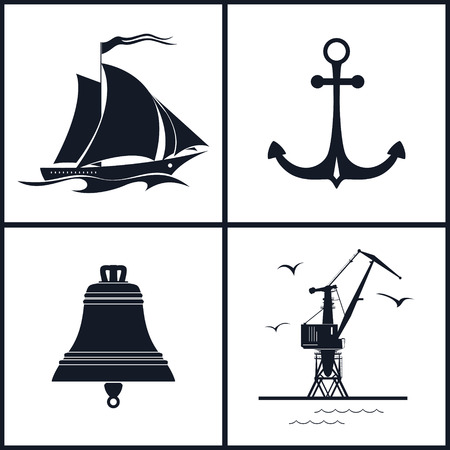 Set of maritime icons for web design.