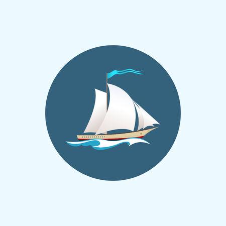 sailing vessel: Icono redondo con los buques de vela de color, barco de vela con una bandera en las olas, ilustraci�n vectorial