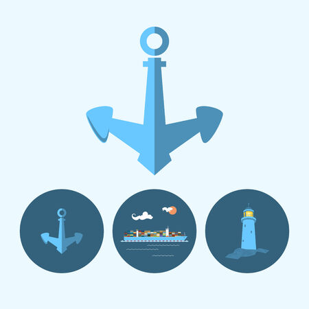 ship anchor: Anchor. Set with 3 round colorful icons, multicoloured anchor, lighthouse and cargo container ship ,logistic icons, vector illustration