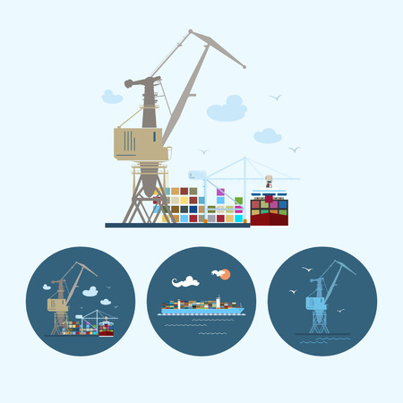 Crane unloads containers from cargo container ship. Set with 3 round colorful icons, multicoloured crane , crane unloads containers from cargo container ship and cargo container ship ,logistic icons, vector illustration Vector
