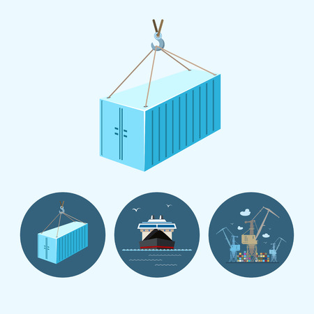 Container hanging on crane hook. Set with 3 round colorful icons, dry cargo ship , crane unloads containers from cargo container ship and container hanging on crane hook ,logistic icons, vector illustration