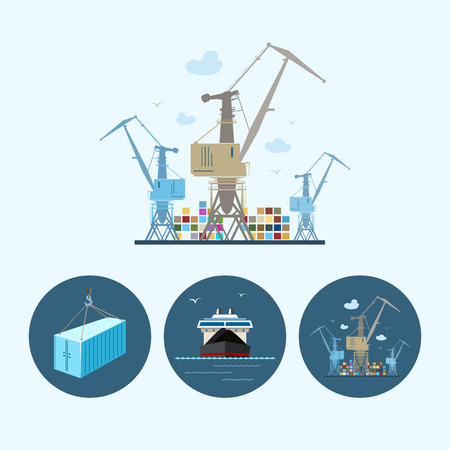Crane unloads containers from cargo container ship. Set with 3 round colorful icons, dry cargo ship , crane unloads containers from cargo container ship and container hanging on crane hook ,logistic icons, vector illustration