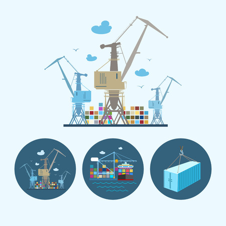 dock: Cranes with container in dock. Set with 3 round colorful icons,  cranes with container , crane unloads containers from cargo container ship and container hanging on crane hook ,logistic icons, vector illustration