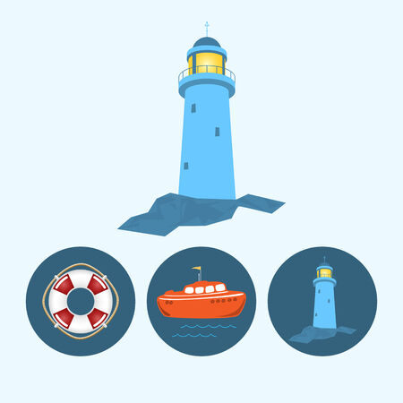 lighthouse: Lighthouse. Set with 3 round colorful icons, orange boat with a flag and waves, lifebuoy , lighthouse,  vector illustration