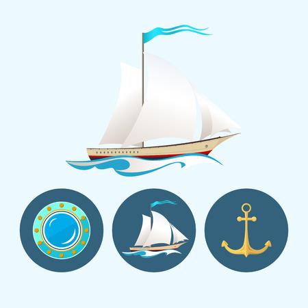 sailing vessel: Buque de vela. Set con 3 iconos coloridos ronda, velero en las olas con una bandera, ancla, porta, ilustraci�n vectorial Vectores