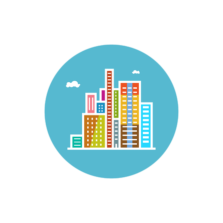 modern buildings: B�timents color�s de l'ic�ne ronde modernes, centre d'affaires ic�ne, ville ic�ne, illustration vectorielle