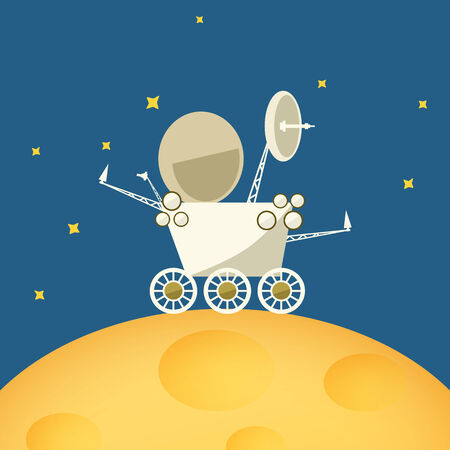 moon rover: Planet rover on the moon among the stars in space ,vector illustration