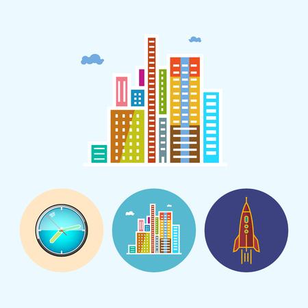 modern buildings: Les b�timents modernes. Set avec 3 rondes ic�nes color�es, horloge murale, montre couleur, les b�timents modernes, centre d'affaires, fus�e, illustration vectorielle