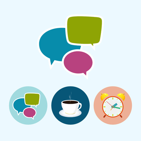 Speech bubble. Set with 3 round colorful icons,speech bubble , cup of tea , cup of coffee,  colored alarm clock,  vector illustration Vector