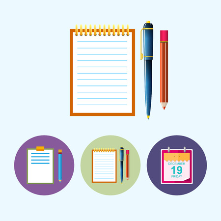 Notebook  .  Set from 3 round colorful icons,clipboard with a pencil,  notebook with the pen and a pencil, icon calendar leaf , data icon, vector illustration Vector