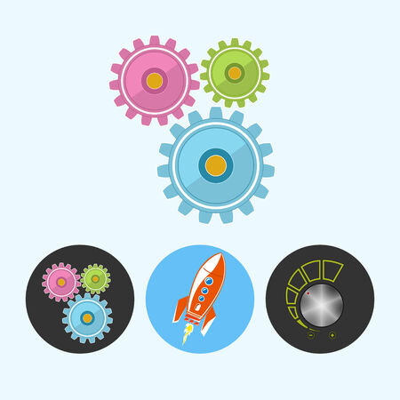 control power: Gears .  Set from 3 round colorful icons, gears ,  rocket , volume control, power control icon, vector illustration