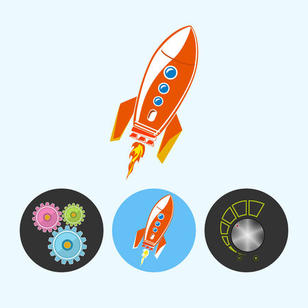 control power: Rocket .  Set from 3 round colorful icons, gears ,  rocket , volume control, power control icon, vector illustration Illustration