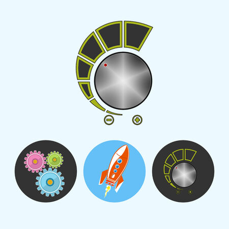 control power: Volume control .  Set from 3 round colorful icons, gears ,  rocket , volume control, power control icon, vector illustration Illustration