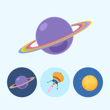 Saturn planet.  Set from 3 round colorful icons, saturn, planet icon, icon spaceship, UFO, moon with stars,  vector illustration Vector