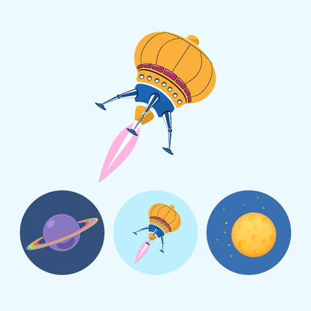 Spaceship.  Set from 3 round colorful icons, saturn, planet icon, icon spaceship, UFO, moon with stars,  vector illustration Illustration