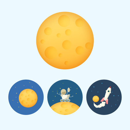 rover: Moon.  Set from 3 round colorful icons,moon with stars, the moon rover goes on the moon,  the spaceship flies up from the moon,   vector illustration Illustration
