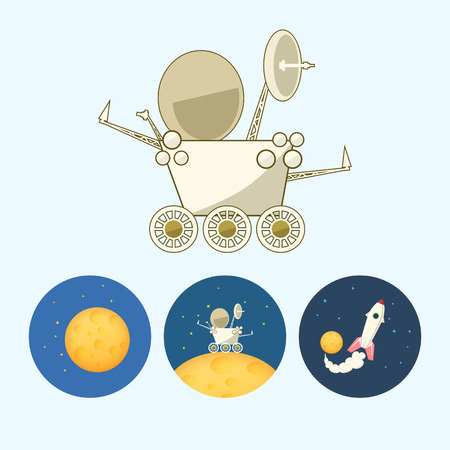 lunar rover: Moonwalker, rover.  Set from 3 round colorful icons,moon with stars, the moon rover goes on the moon,  the spaceship flies up from the moon,   vector illustration
