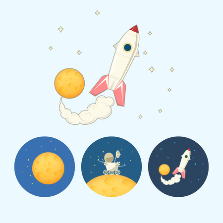 moon rover: Spaceship , rocket.  Set from 3 round colorful icons,moon with stars, the moon rover goes on the moon,  the spaceship flies up from the moon,   vector illustration