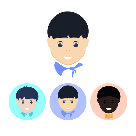 biracial: Face of the Asian boy. Set of three round colorful icons , face of the european boy, face of the asian boy, face of the african-american boy,   vector illustration