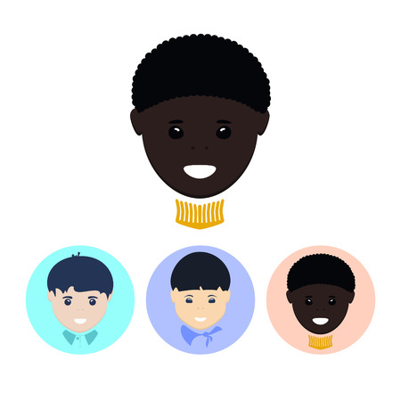 biracial: Face of African-American boy. Set of three round colorful icons , face of the european boy, face of the asian boy, face of the african-american boy,   vector illustration