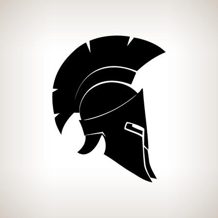 Antiquariato romano o elmo greco per i soldati di protezione testa con una cresta di piume o crine con fessure per gli occhi e la bocca, illustrazione vettoriale