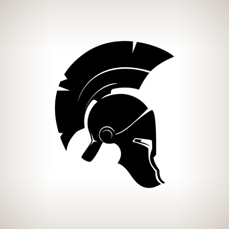 warriors: Antiques Roman or Greek helmet for head protection soldiers with a crest of feathers or horsehair with slits for the eyes and mouth, vector illustration