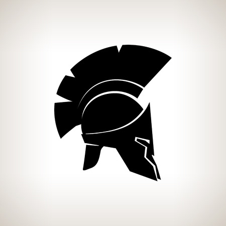 Antiques Roman or Greek helmet for head protection soldiers with a crest of feathers or horsehair with slits for the eyes and mouth, vector illustration Stock Vector - 34033983