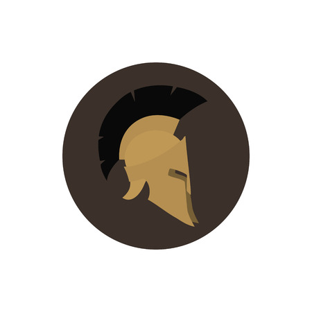 Icon helmet, antiques Roman or Greek helmet for head protection soldiers with a crest of feathers or horsehair with slits for the eyes and mouth, vector illustration Illustration