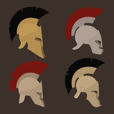 horsehair: Colored antique  Roman or Greek helmets for head protection soldiers with a crest of feathers or horsehair with slits for the eyes and mouth, vector illustration Illustration