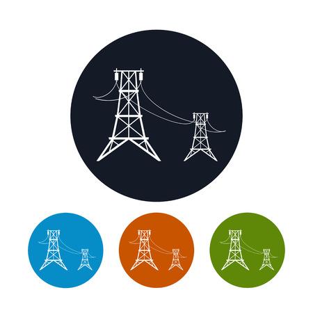 アイコン高電圧送電線の 4 種類のカラフルなラウンドのアイコン高圧送電線、ベクトル イラスト
